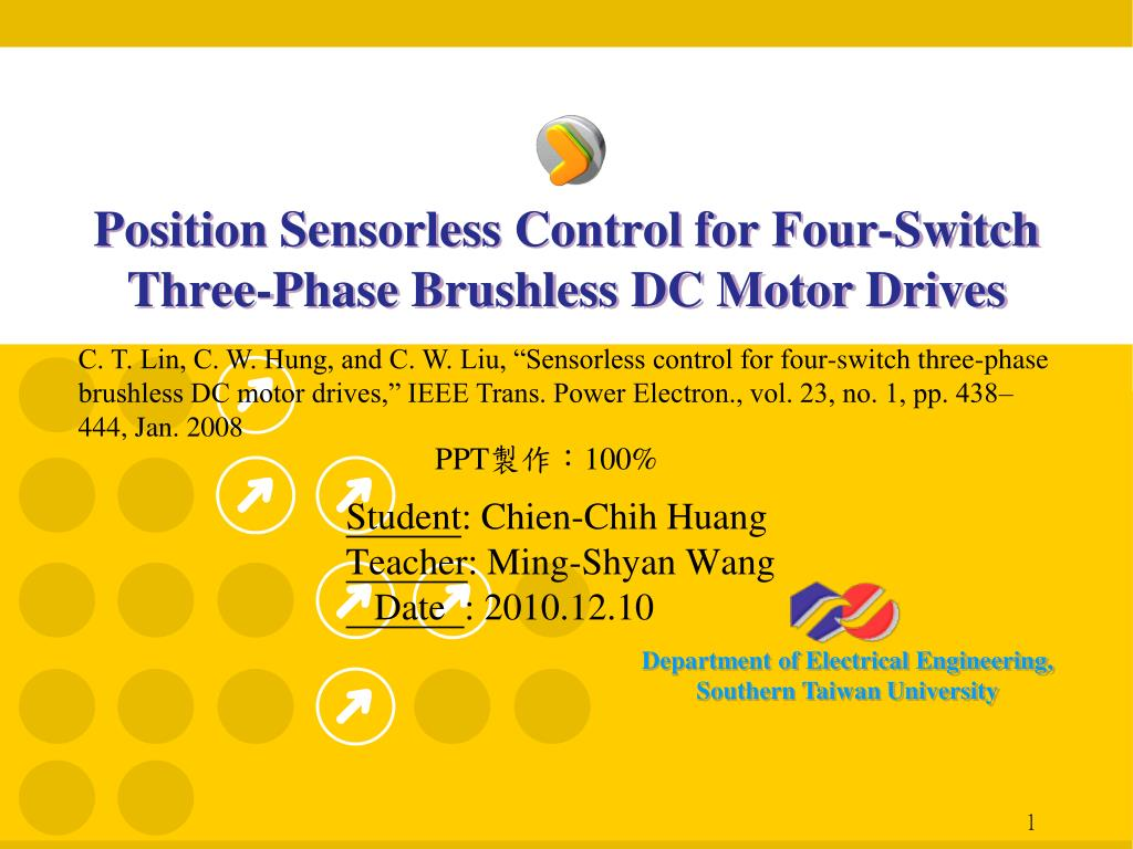 Ppt Position Sensorless Control For Four Switch Three Phase Brushless Electric Motor Diagram Dc Controller Drives N