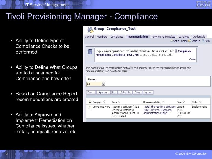Tivoli Provisioning Manager - Compliance
