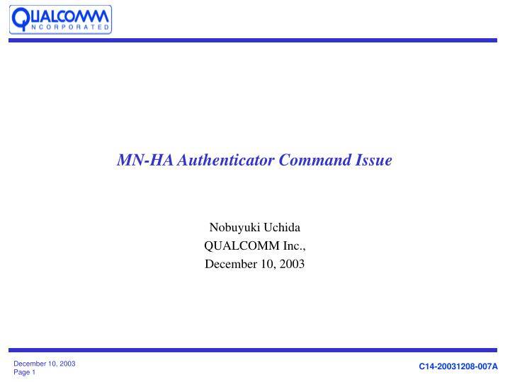mn ha authenticator command issue n.