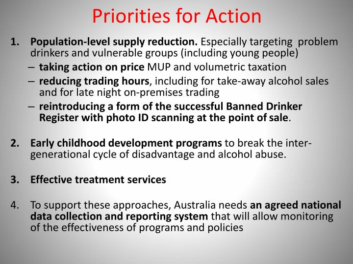 Priorities for Action