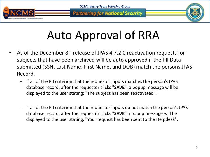 Auto Approval Of RRA