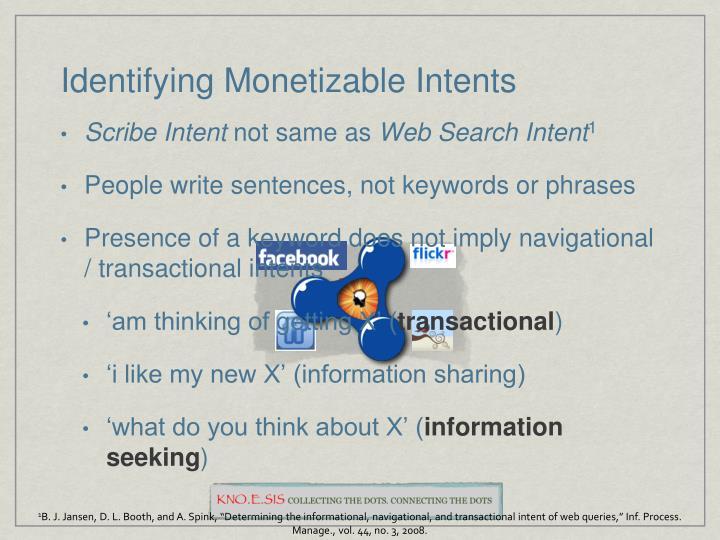 Identifying Monetizable Intents