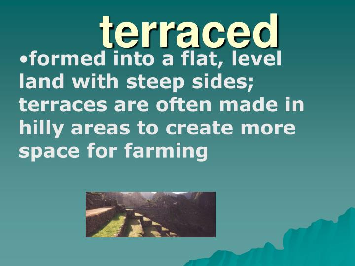 formed into a flat, level land with steep sides; terraces are often made in hilly areas to create more space for farming