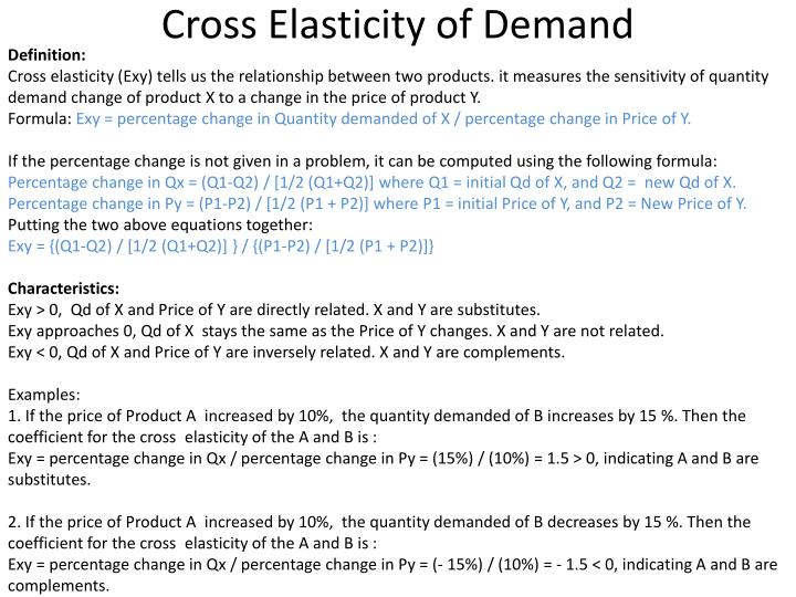 elasticity complements substitutes Elasticity of substitution measures how easy it is to substitute product b for product a and vice versa what exactly easy means depends on the context usually elasticity of substitution is measured based on the marginal change to a production or utility function whether the value is greater or.