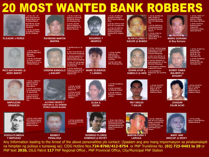 20 MOST WANTED BANK ROBBERS