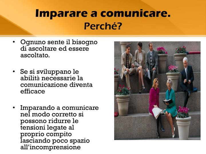 Imparare a comunicare.