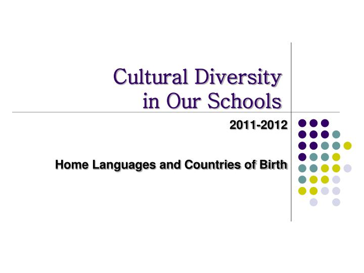 cultural diversity in our schools n.