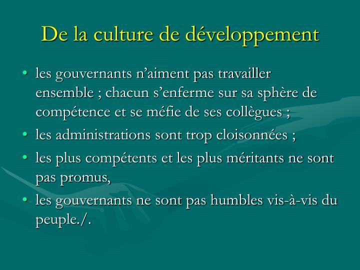 De la culture de développement