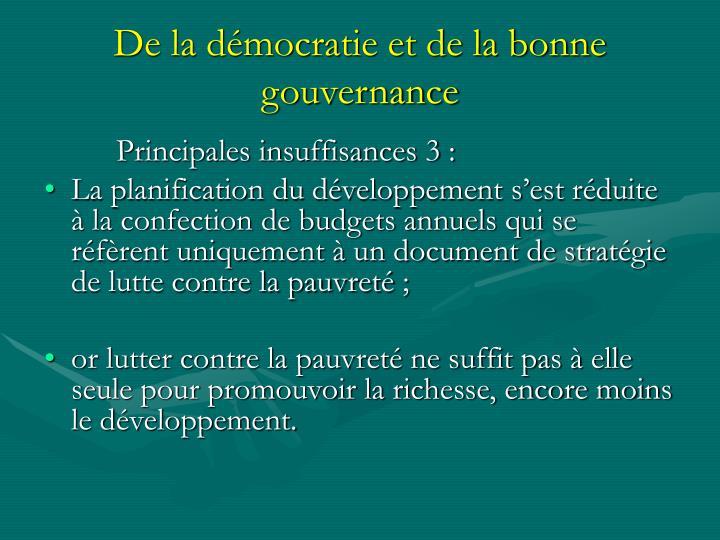 De la démocratie et de la bonne gouvernance