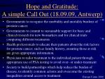 hope and gratitude a simple call out 18 09 09 antwerp