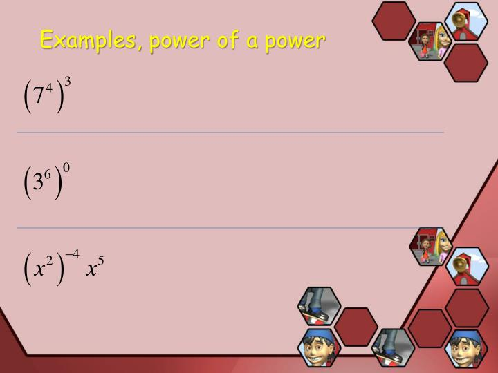 Examples, power of a power