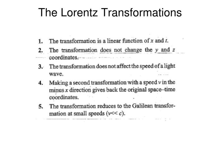The Lorentz Transformations