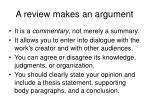 a review makes an argument