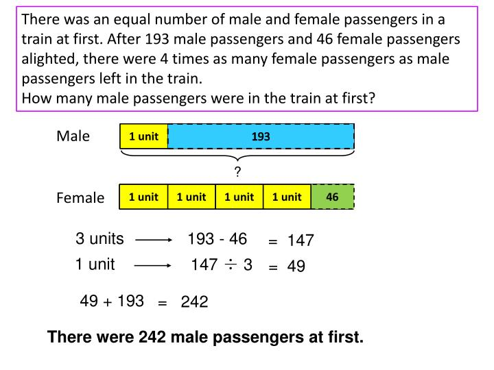 There was an equal number of male and female passengers in a train at first. After 193 male passengers and 46 female passengers alighted, there were 4 times as many female passengers as male passengers left in the train.