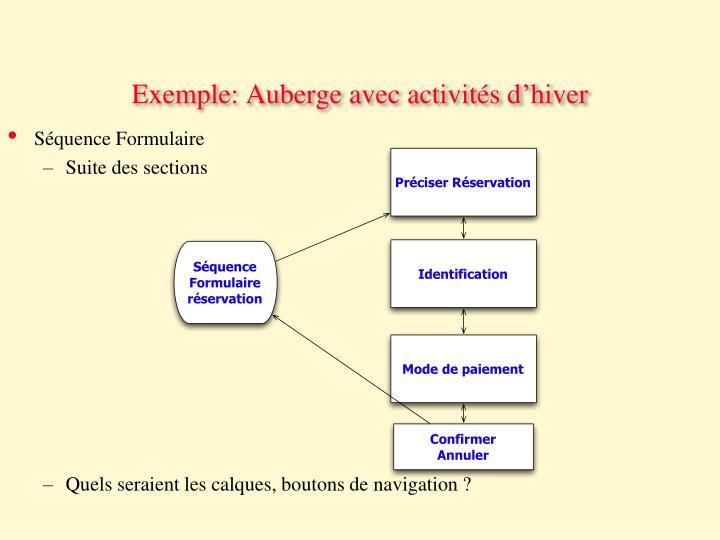 Exemple: Auberge avec activités d