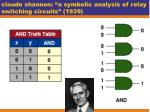 claude shannon a symbolic analysis of relay switching circuits 1939
