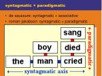 syntagmatic paradigmatic