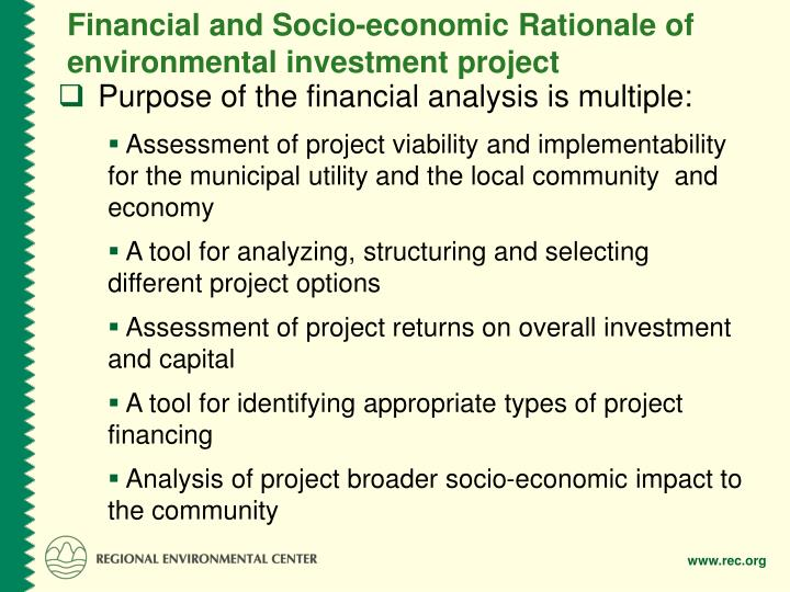 Financial and Socio-economic Rationale of environmental investment project