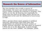 research the source of i nformation