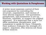 working with quotations paraphrases