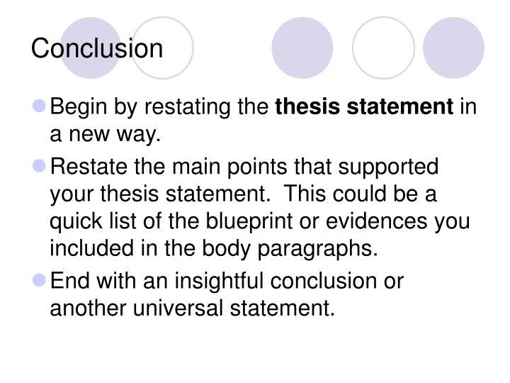 good way to restate a thesis
