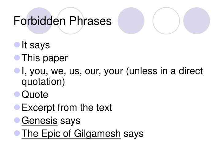 Forbidden Phrases