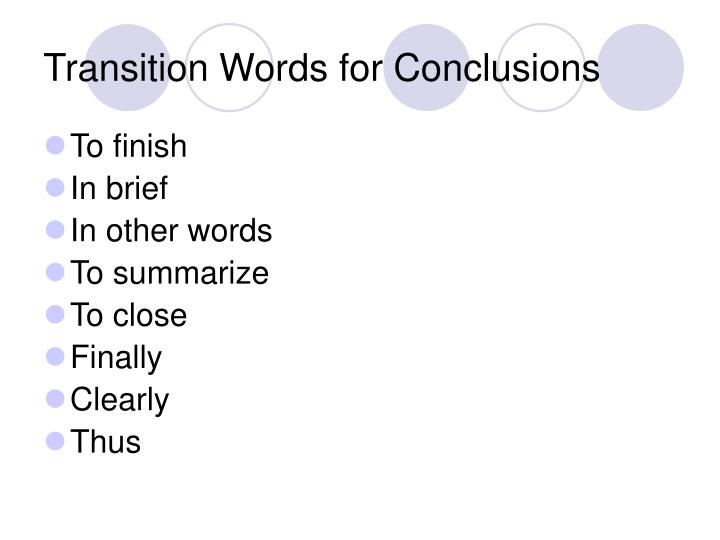 Transition Words for Conclusions