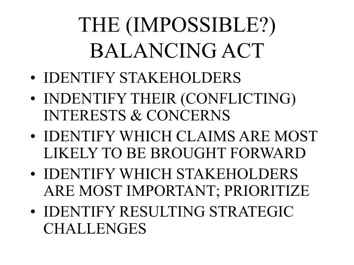 THE (IMPOSSIBLE?) BALANCING ACT