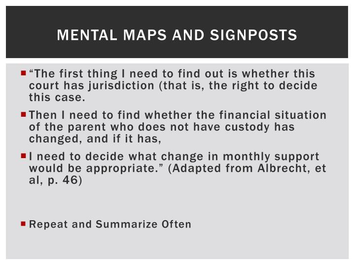 Mental Maps and Signposts