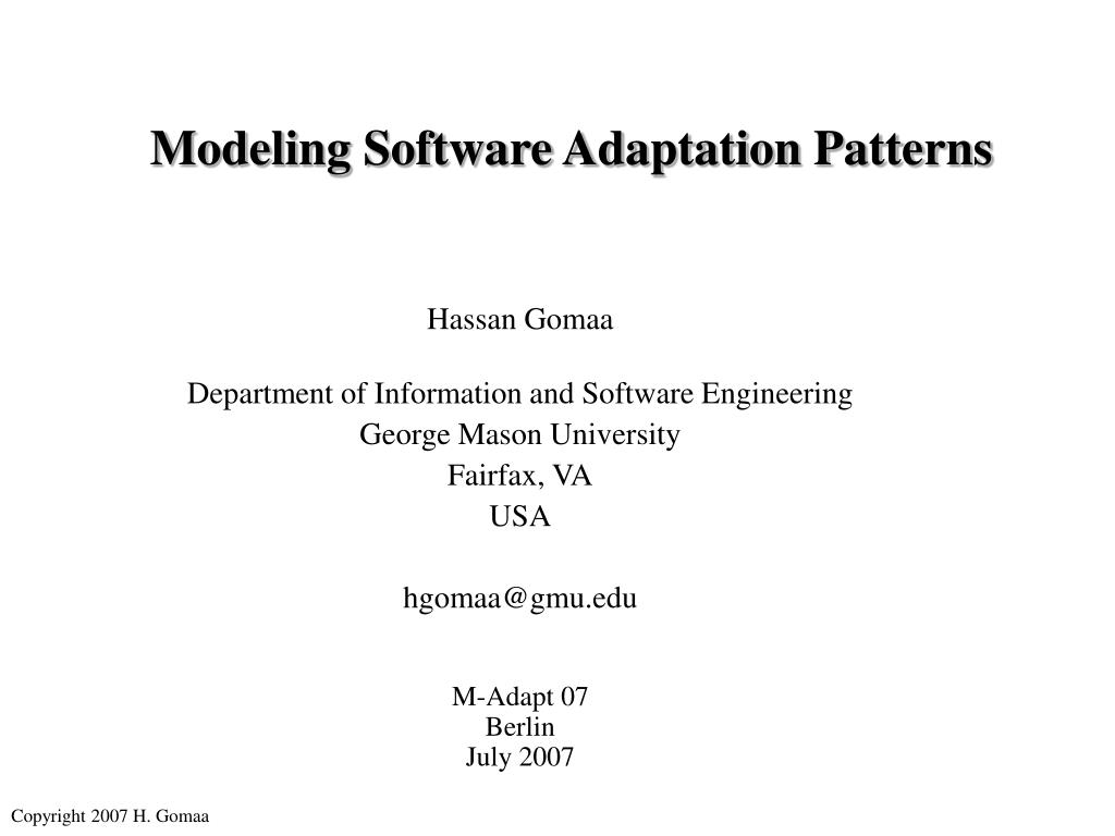 Ppt Modeling Software Adaptation Patterns Powerpoint Presentation Free Download Id 6566990