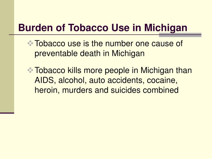 Burden of tobacco use in michigan