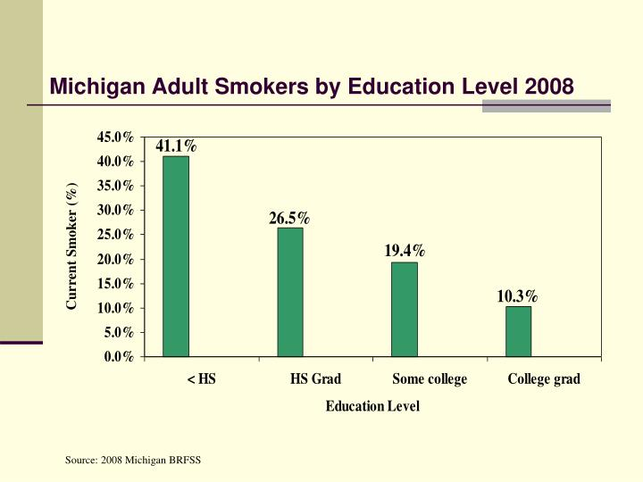 Michigan Adult Smokers by Education Level 2008
