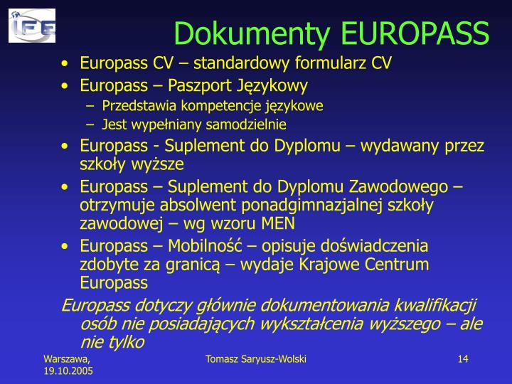 Dokumenty EUROPASS