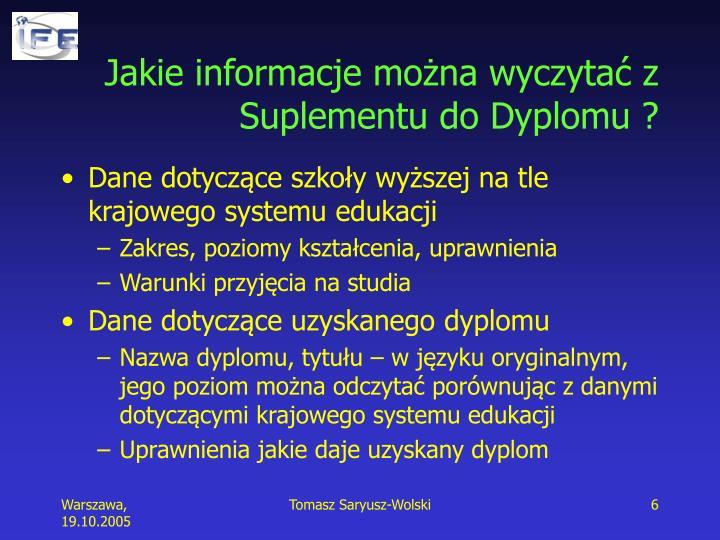 Jakie informacje można wyczytać z Suplementu do Dyplomu ?