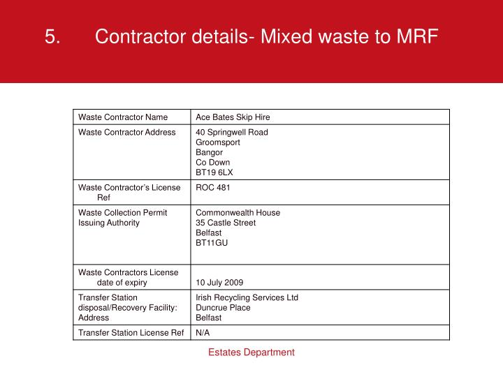5.Contractor details- Mixed waste to MRF