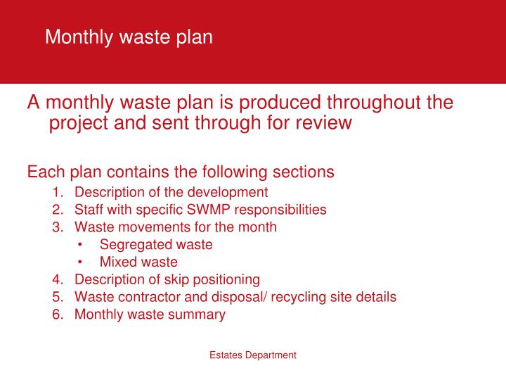 Monthly waste plan
