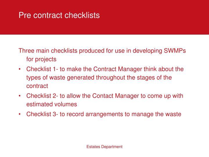 Pre contract checklists