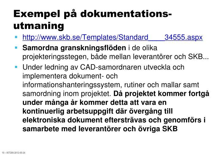 Exempel på dokumentations-utmaning
