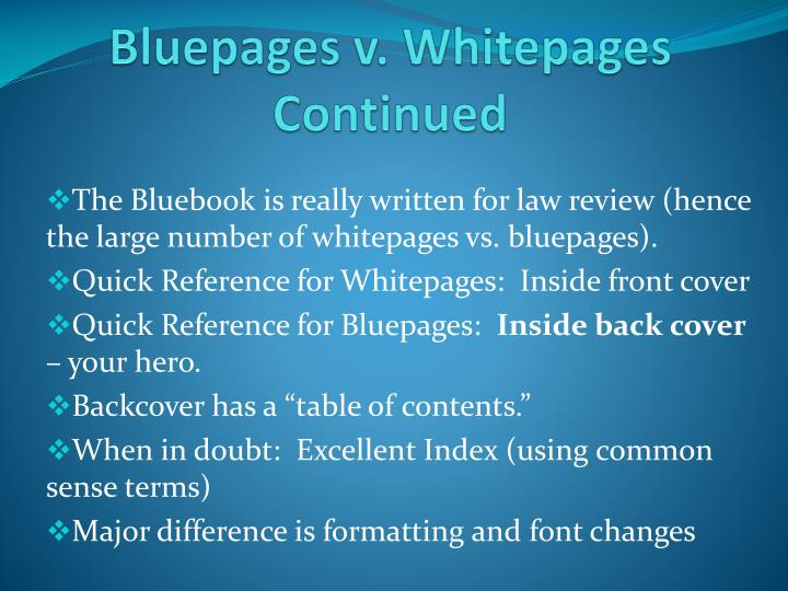 Bluepages v whitepages continued