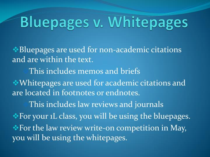 Bluepages v whitepages