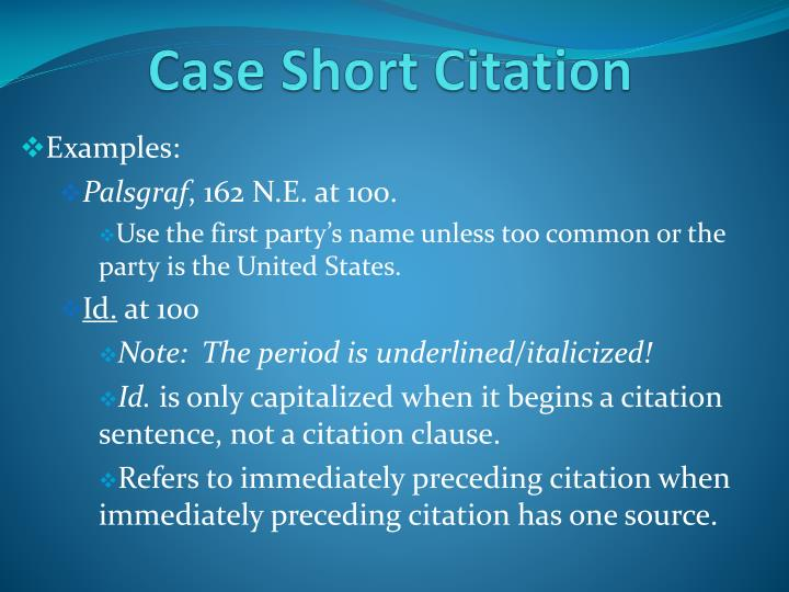 Case Short Citation