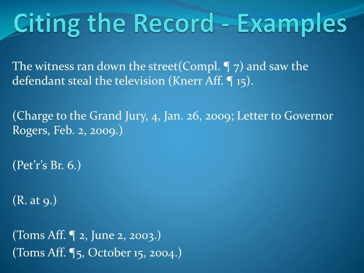 Citing the Record - Examples