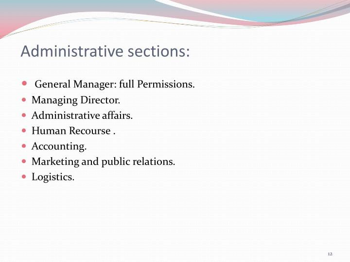 Administrative sections: