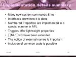 implementation details summary
