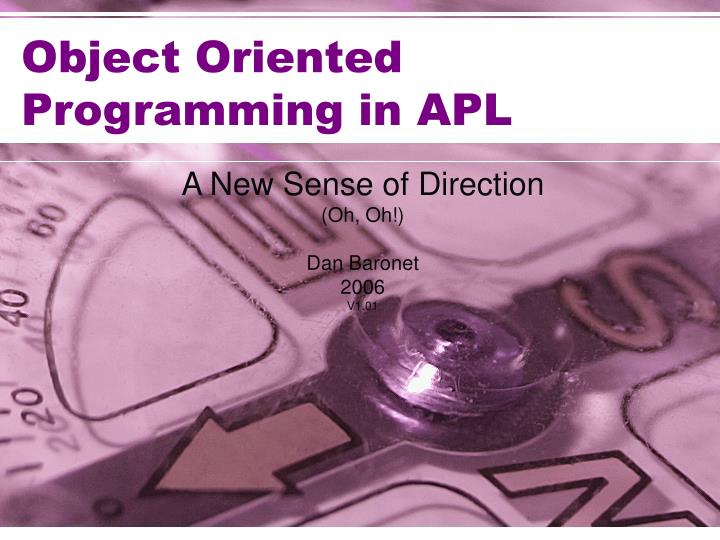 object oriented programming in apl n.