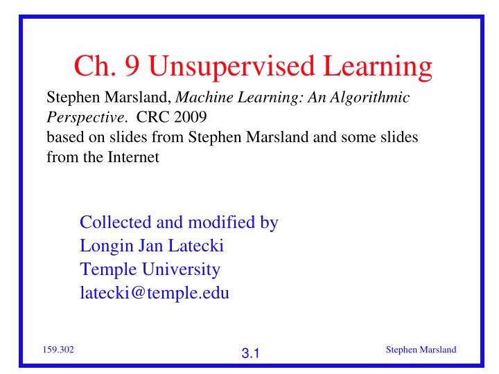 ch 9 unsupervised learning n.