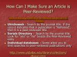 how can i make sure an article is peer reviewed