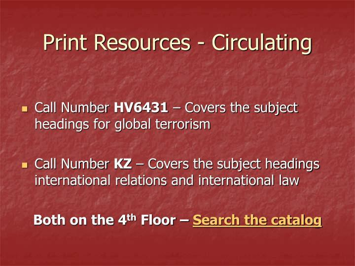 Print Resources - Circulating