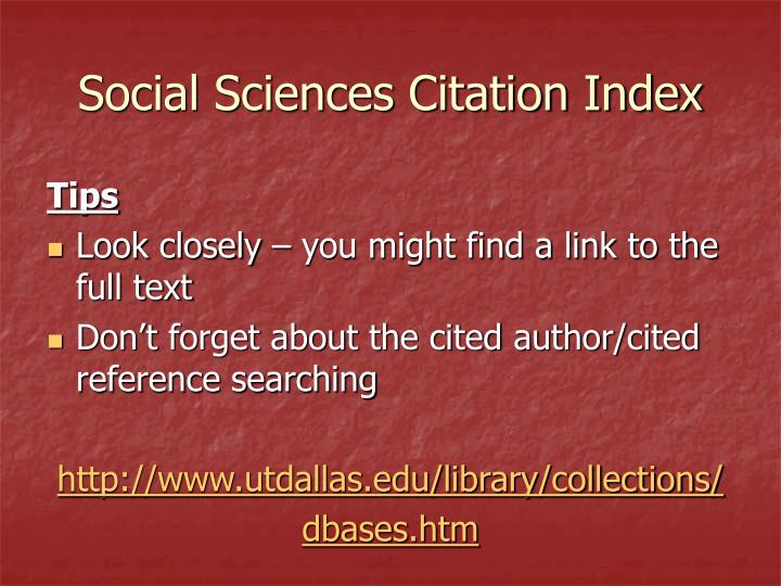 Social Sciences Citation Index