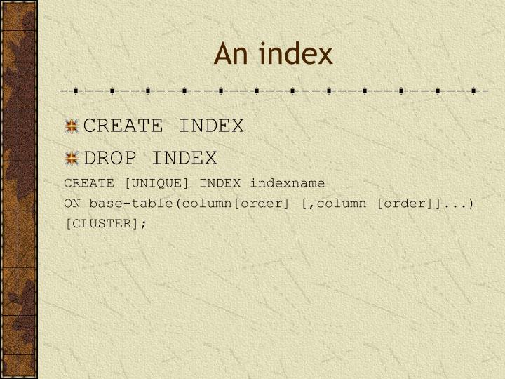 An index